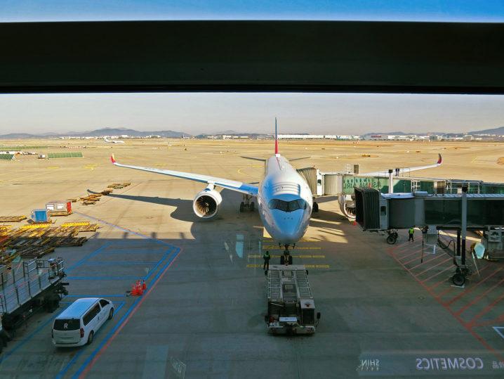 韓国の空港に到着