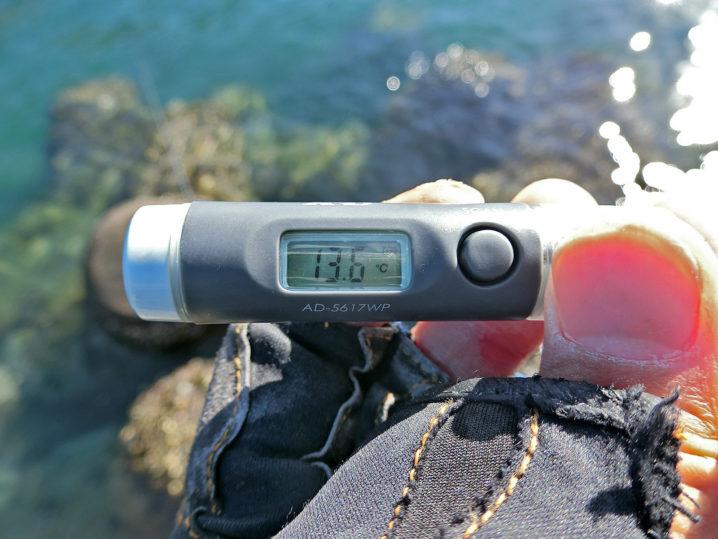 最後のメバリングポイントの水温測定