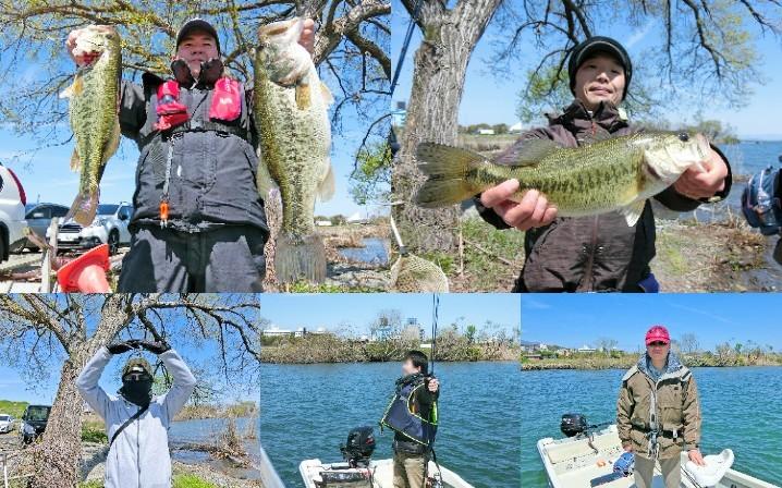 5人の4月中旬琵琶湖南湖におけるブラックバス釣りの様子を紹介