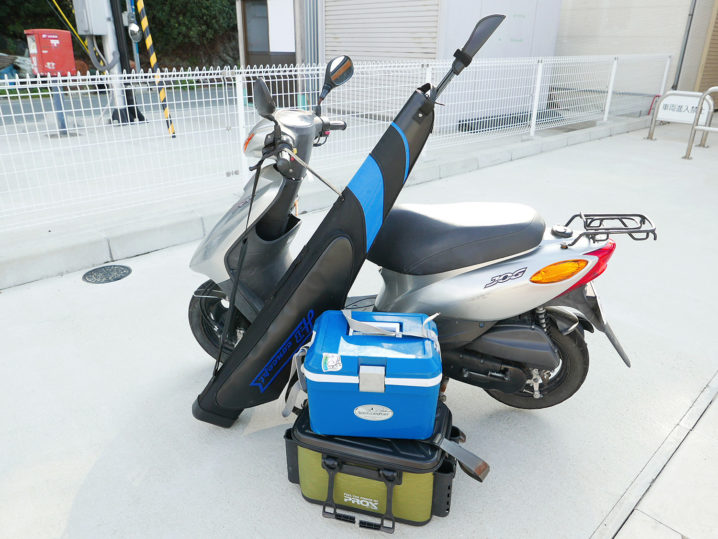 バイク(原動機付き自転車)を借りて坊勢島アジング開始!