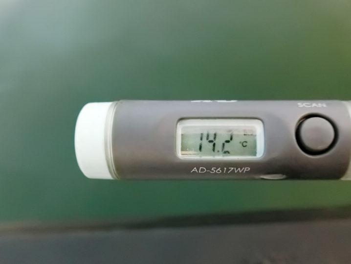 奥出湾の水温は約14.2度