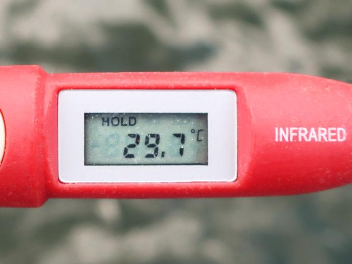 当日の七色ダムの天気と水温