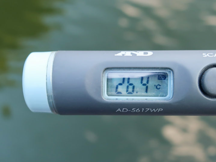 当日の一庫ダムの天気と水温