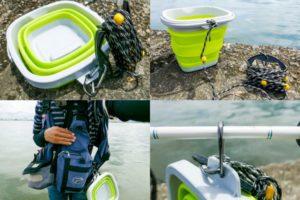 ルアー釣りで超便利!折り畳めてコンパクトになる水汲みバケツの紹介